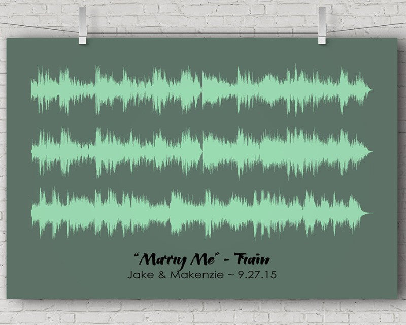 "Wedding Song Sound Wave Art Print - Ex. ""Marry Me"" by Train - Artsy Voiceprint"