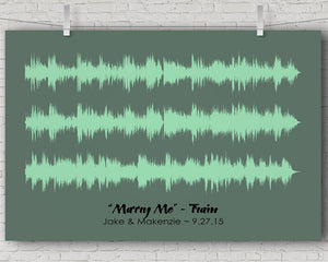 "Wedding Song Sound Wave Art Print - ""Marry Me"" by Train"