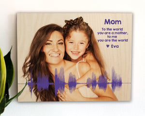 Custom Photo and Voiceprint on Wood, Gift for Mom or Dad