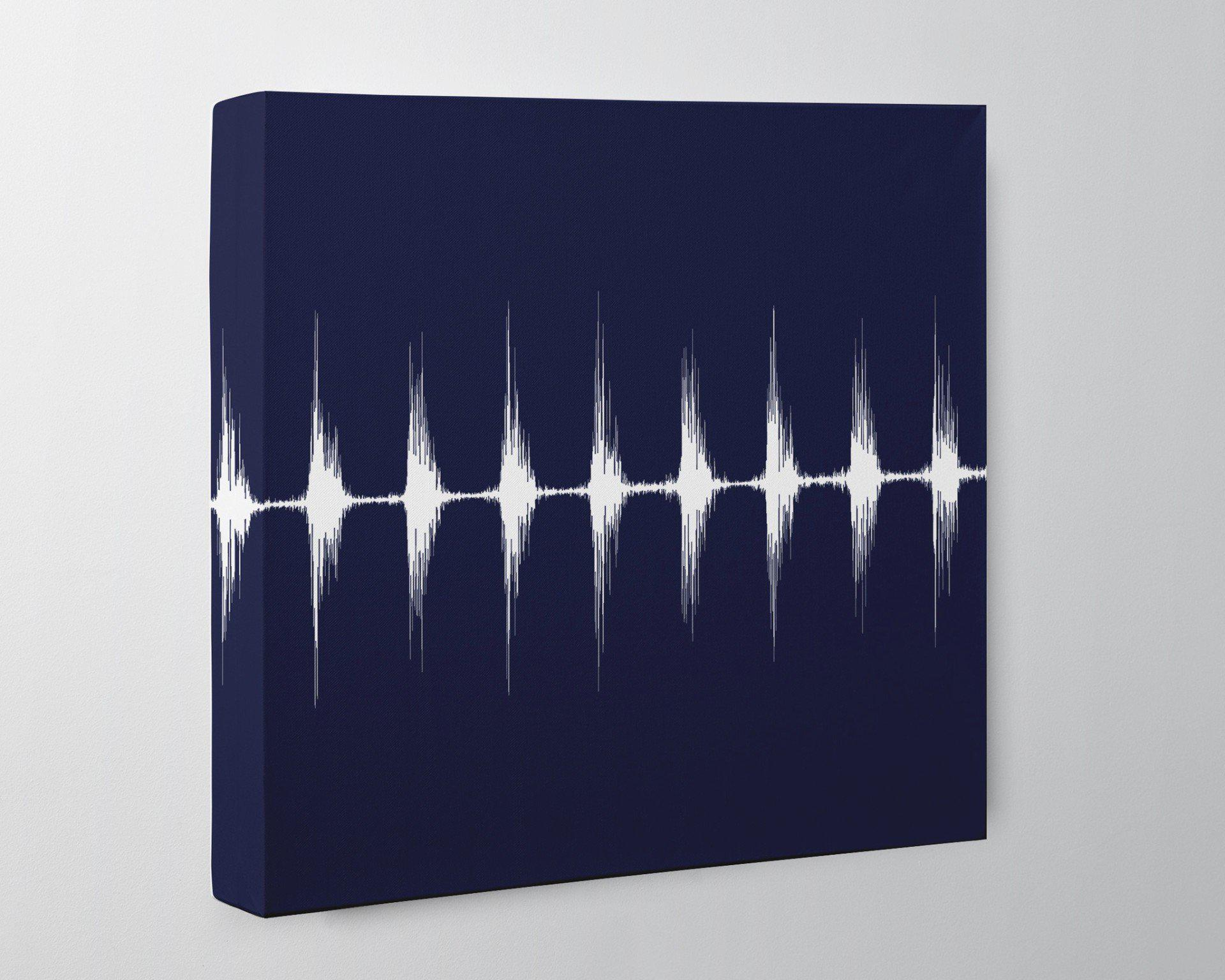 Baby Heartbeat Square Canvas - Modern Nursery Wall Art, Heart Beat Sound Wave