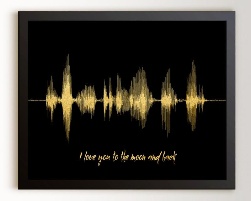 Custom Sound Wave Print - I love you to the moon and back - Artsy Voiceprint