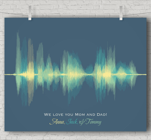 Personalized Gift for Mom and Dad  Sound Wave Art