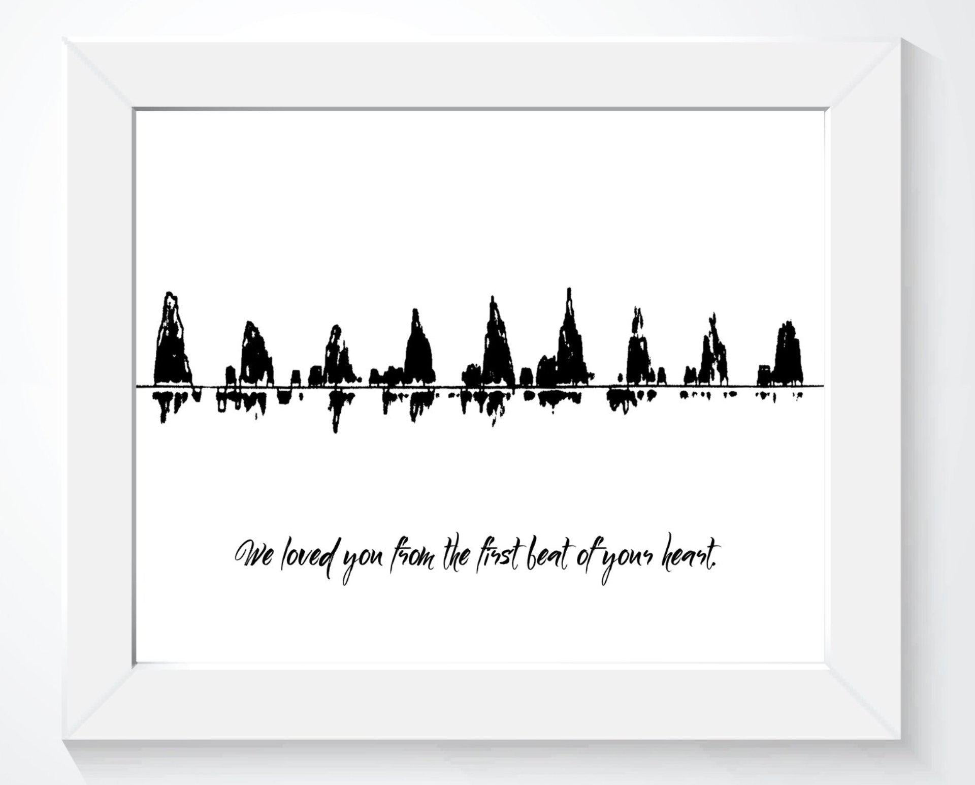 Love at First Beat - Baby Heartbeat Sound Wave Print - Artsy Voiceprint