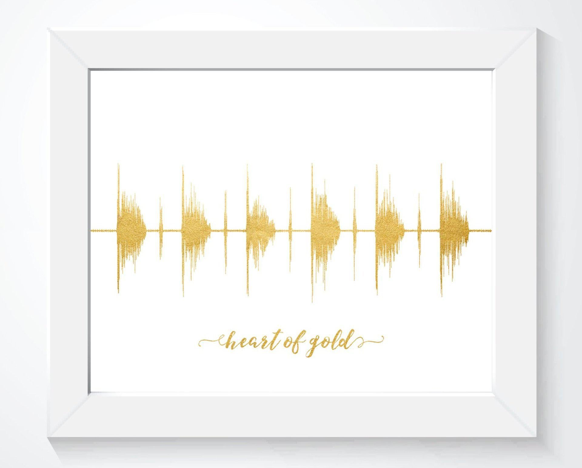 Heart of Gold - Gold Foil Effect Sound Wave Art Print - Artsy Voiceprint