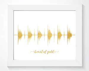 Heart of Gold - Gold Foil Effect Sound Wave Art Print