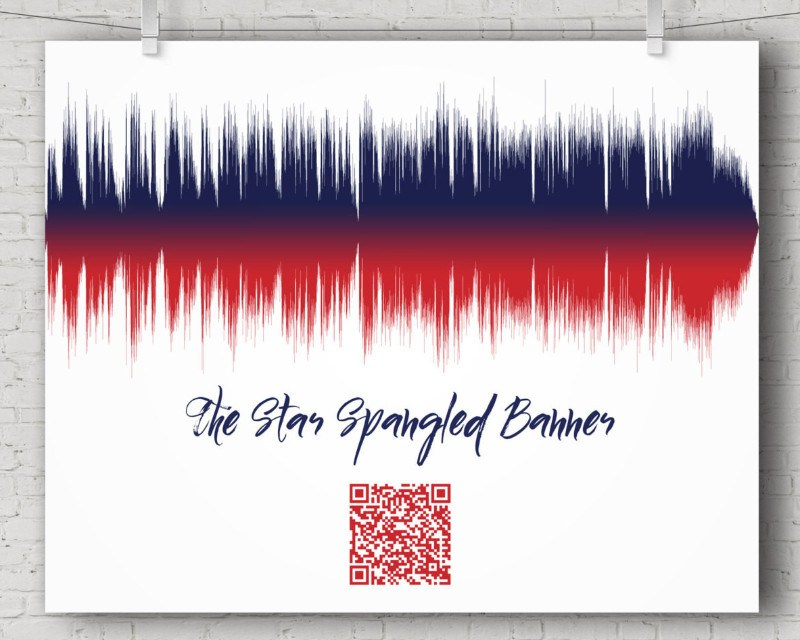 Star Spangled Banner Song with QR code, National Anthem - Sound Wave Wall Art Print - Artsy Voiceprint