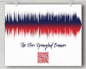 Star Spangled Banner Song with QR code, National Anthem Art Print