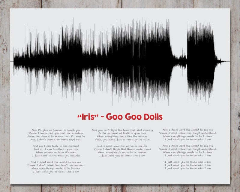 Music Gift, Song Lyric Art, Custom Sound Wave