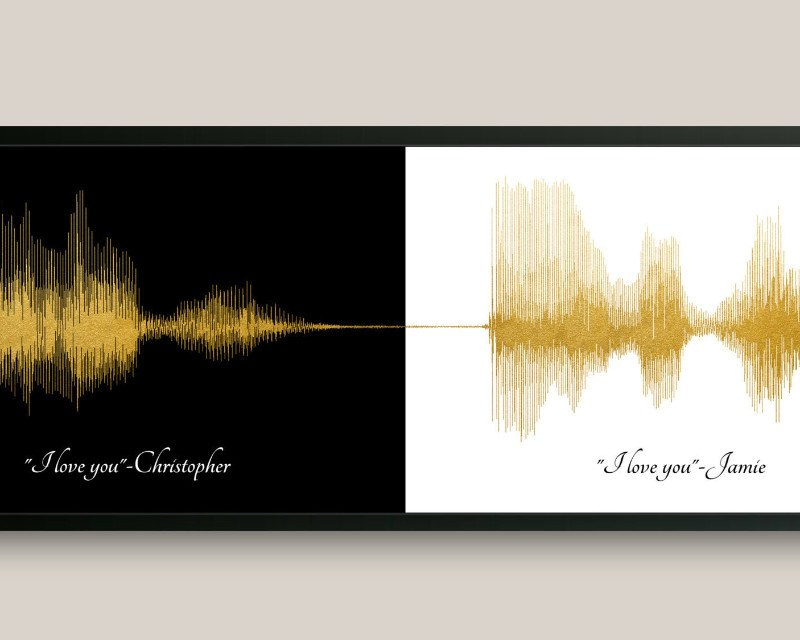 I love you Voiceprint, First Paper Anniversary, Gift For Couple - Artsy Voiceprint
