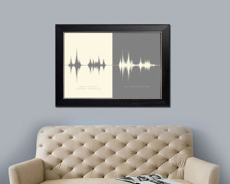 Wedding Vows Sound Wave Art Print, Anniversary Gift for Couple - Artsy Voiceprint