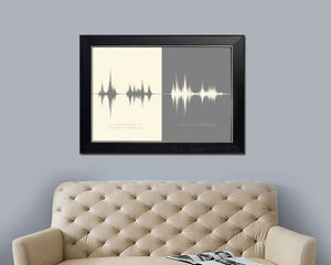 Wedding Vows Sound Wave Art Print, Anniversary Gift for Couple