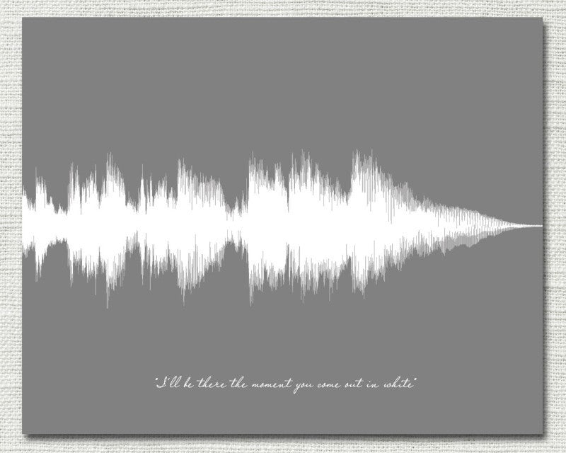 wedding day gift song sound wave art for bride groom from dad mom