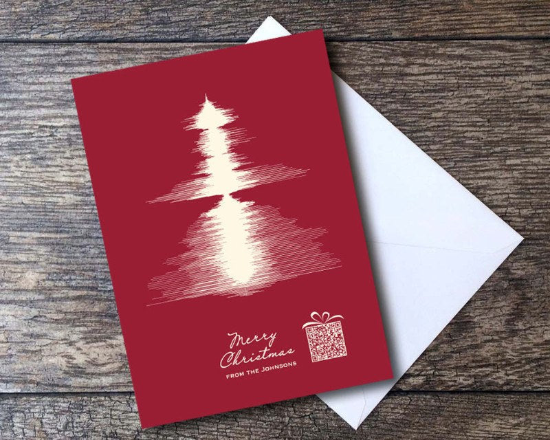 Christmas Tree Sound Wave Card Set - Merry Christmas QR Code - Artsy Voiceprint