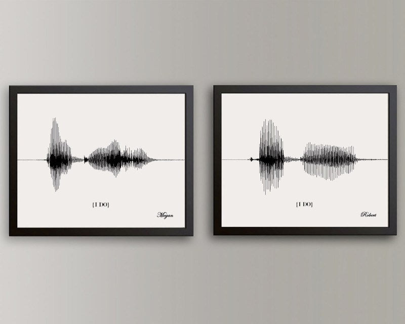 I Do Wedding Vow Sound Wave His & Hers Art Keepsake, Paper Anniversary Gift Idea - Artsy Voiceprint