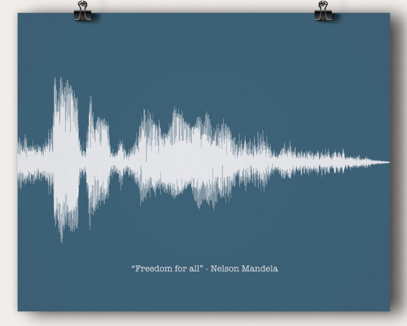"Nelson Mandela ""Freedom For All"" Quote Soundwave Wall Art Print Gift - Artsy Voiceprint"