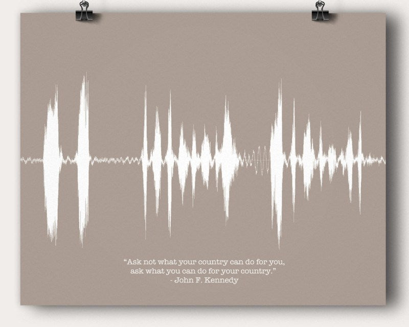 John F Kennedy Speech Sound Man Cave Wave Wall Art US President Famous Quote Gift - Artsy Voiceprint