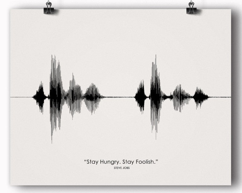 "Steve Jobs Quote ""Stay Hungry Stay Foolish"" Soundwave, Graduation Gift - Artsy Voiceprint - 1"
