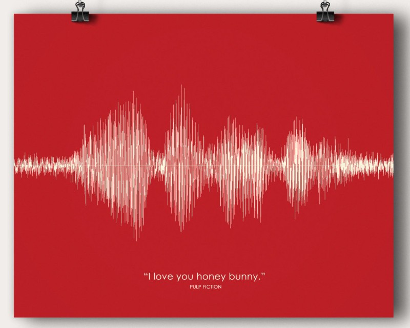 Pulp Fiction Movie Quote - I love you Honey Bunny - Artsy Voiceprint
