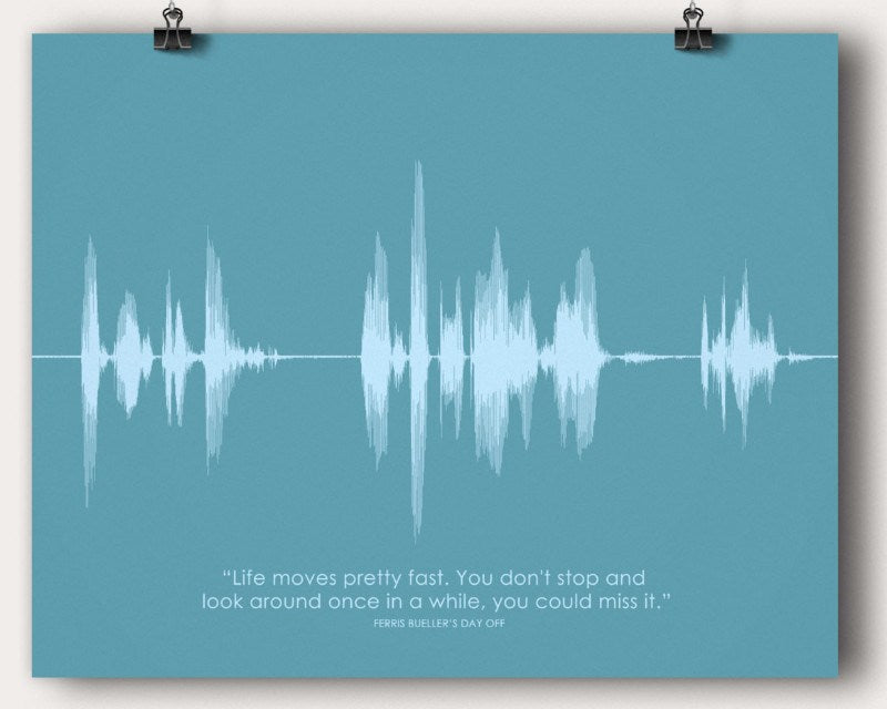 "Ferris Bueller ""Life Moves Pretty Fast"" Movie Quote Soundwave Wall Art Print - Artsy Voiceprint"