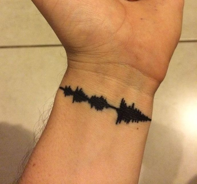 Tattoo Sound Wave Custom Art - Black & White Digital File - Artsy Voiceprint