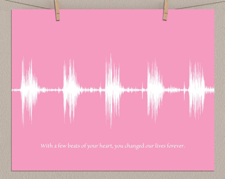 Baby Heartbeat Sound Wave Wall Art, Unique Heart Beat Keepsake - Artsy Voiceprint