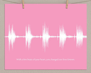 Baby Heartbeat Sound Wave Wall Art, Unique Heart Beat Keepsake
