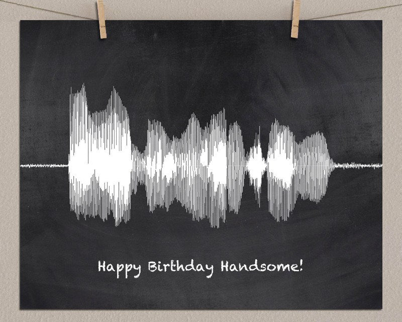 Happy Birthday Sound Wave Art Wall Print, 21st 30th 40th 50th Gift - Artsy Voiceprint - 1