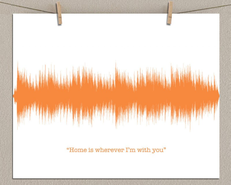Custom Song Art Sound Wave, Housewarming Gift, Home is wherever I'm with you... - Artsy Voiceprint
