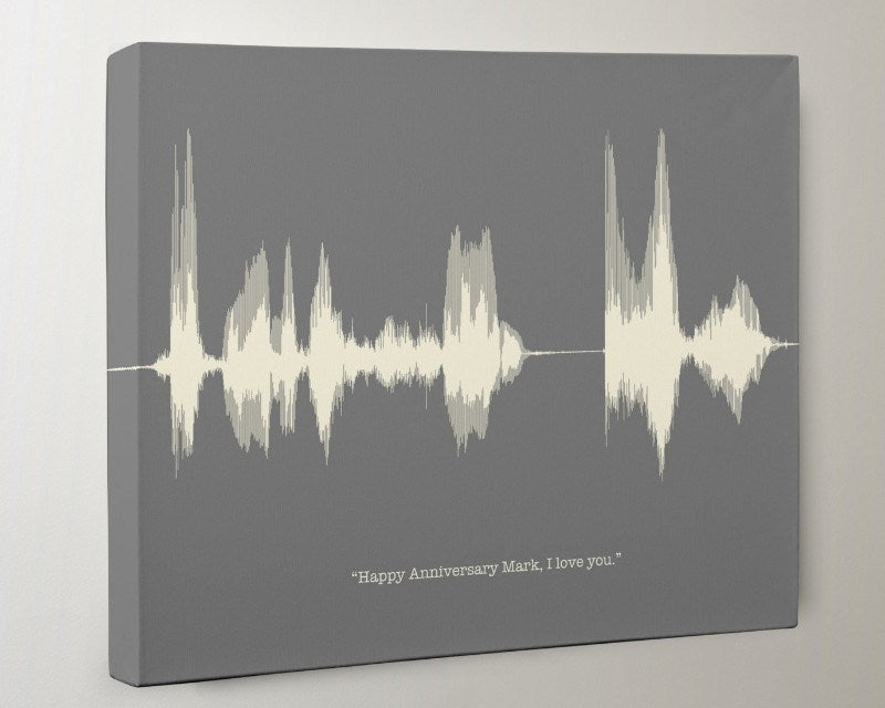 Cotton 2nd Anniversary Canvas Gift - Personalized Voice Wave, Custom Sound Wave Art - Artsy Voiceprint