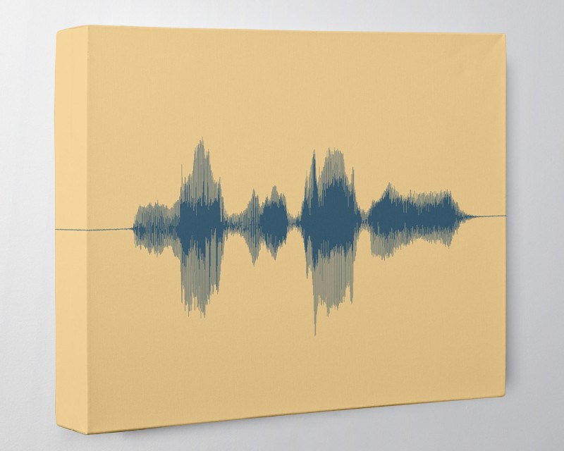 Custom Sound Wave Art Canvas - Voice Message, Song Lyrics - With QR Code Card - Artsy Voiceprint
