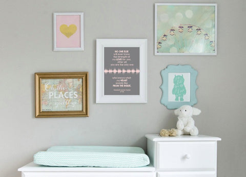 No one will ever know... Baby's Heartbeat & Quote, Nursery Art