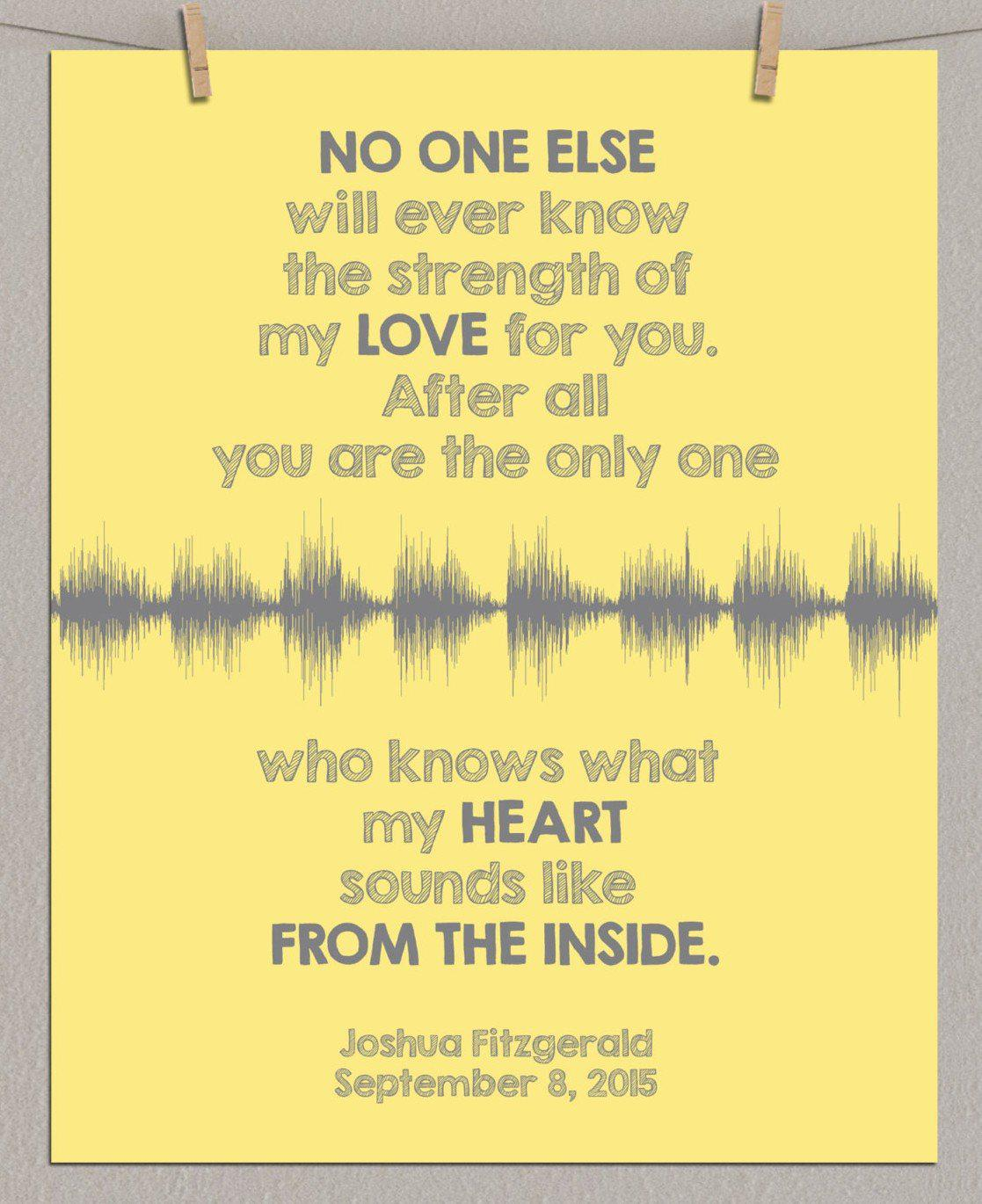 "Personalized Baby's Heartbeat Sound Wave Art Print ""No one will ever know..."" - Artsy Voiceprint"