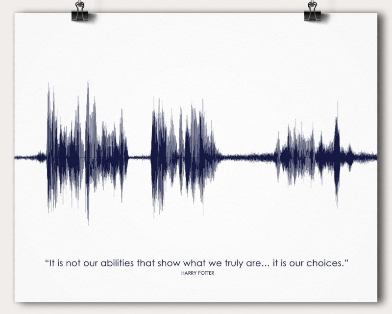 Harry Potter Movie Quote Sound Wave Print, Graduation Gift - Artsy Voiceprint