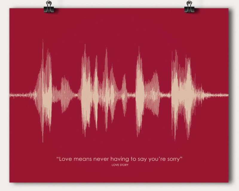 Movie Quote Sound Wave Wall Art Print Poster Unique Anniversary Gift Love Story - Artsy Voiceprint