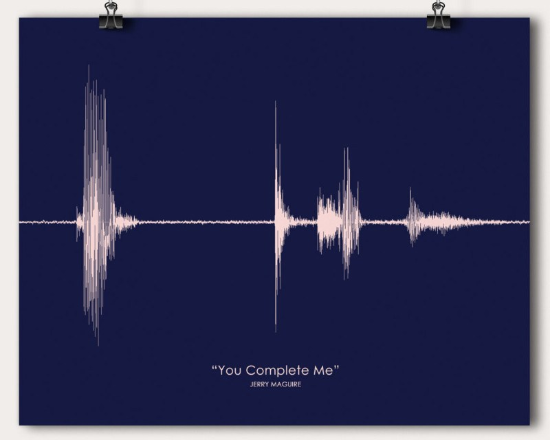 You Complete Me Movie Quote Sound Wave Soundwave Tom Cruise Wall Art Print Gift - Artsy Voiceprint - 1