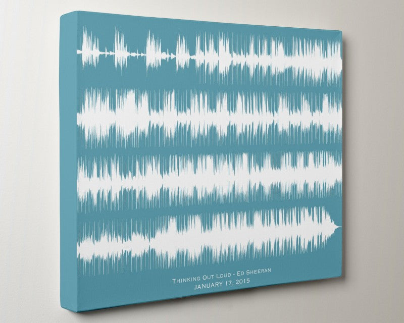 Ed Sheeran - Thinking Out Loud, Custom Wedding Song Print Sound Wave Canvas For Him - Artsy Voiceprint