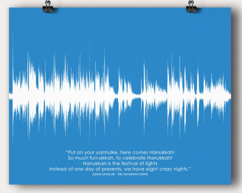 Jewish Hanukkah Song Sound Wave Man Cave Wall Art Print Poster Gift Adam Sandler's - Artsy Voiceprint - 1