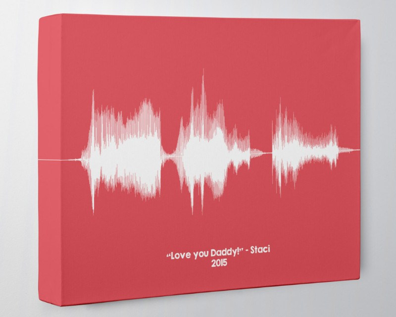 Best Gift for Dads from Daughter, Son - Birthday Gift, Sound Wave Canvas Art - Artsy Voiceprint