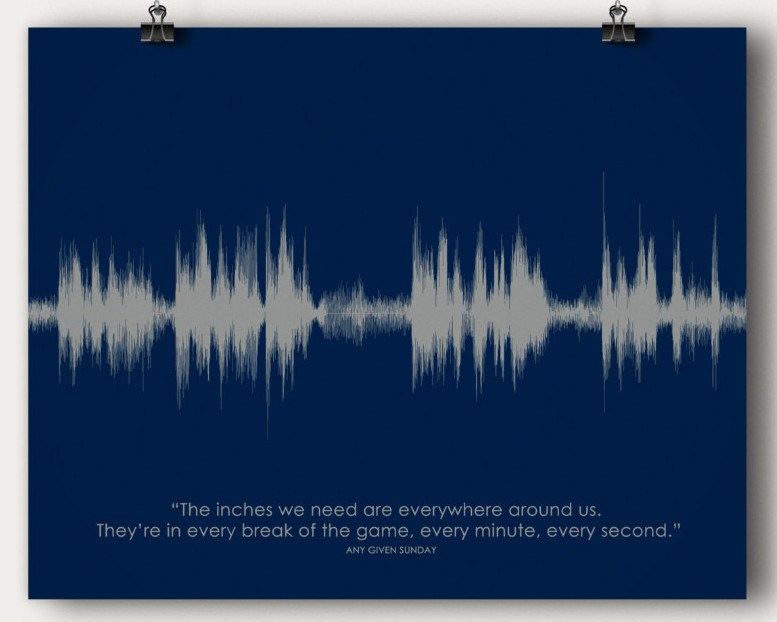 "Any Given Sunday Movie ""Inches"" Quote - Artsy Voiceprint"