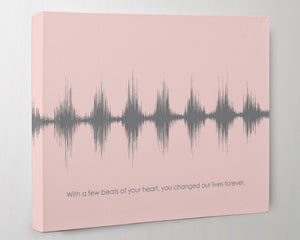 Baby Heartbeat Sound Wave Modern Nursery Heart Beat Art Canvas