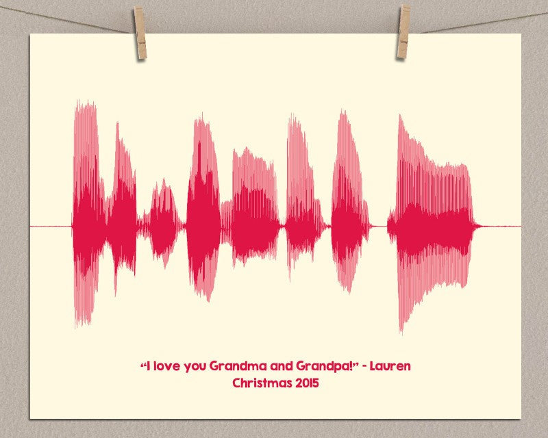 "Gift For Grandma, Grandpa - ""I love you"" Personalized Message - Artsy Voiceprint"