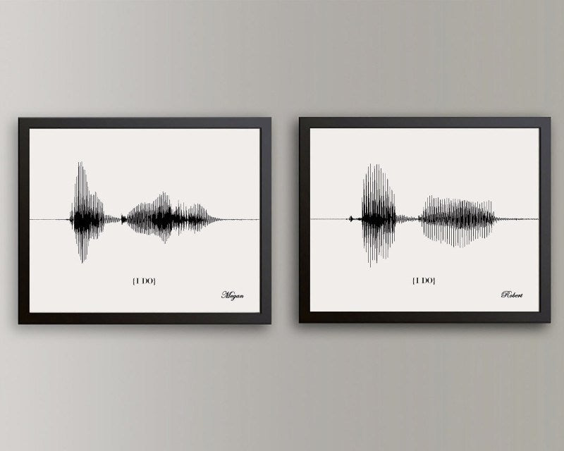 Gift Certificate - Wedding Vow Sound Wave Art - Unique Gift for Couple, His & Hers Gifts - Artsy Voiceprint - 3