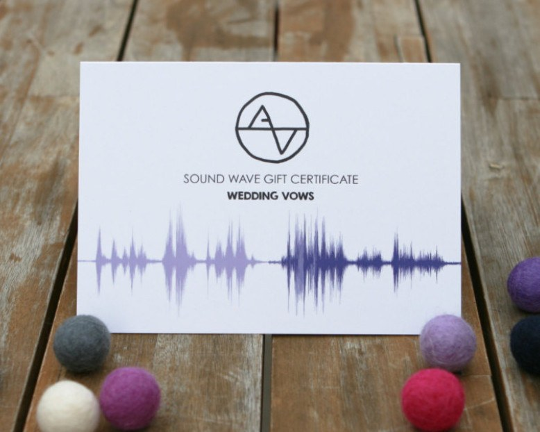 Gift Certificate - Wedding Vow Sound Wave Art - Unique Gift for Couple, His & Hers Gifts - Artsy Voiceprint