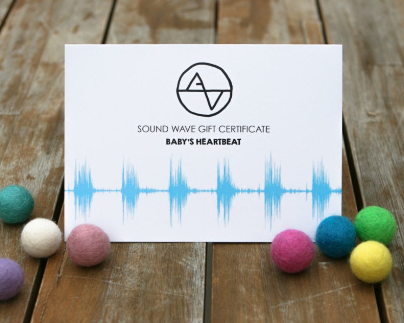 Gift Certificate - Baby Heartbeat Sound Wave Art - Artsy Voiceprint