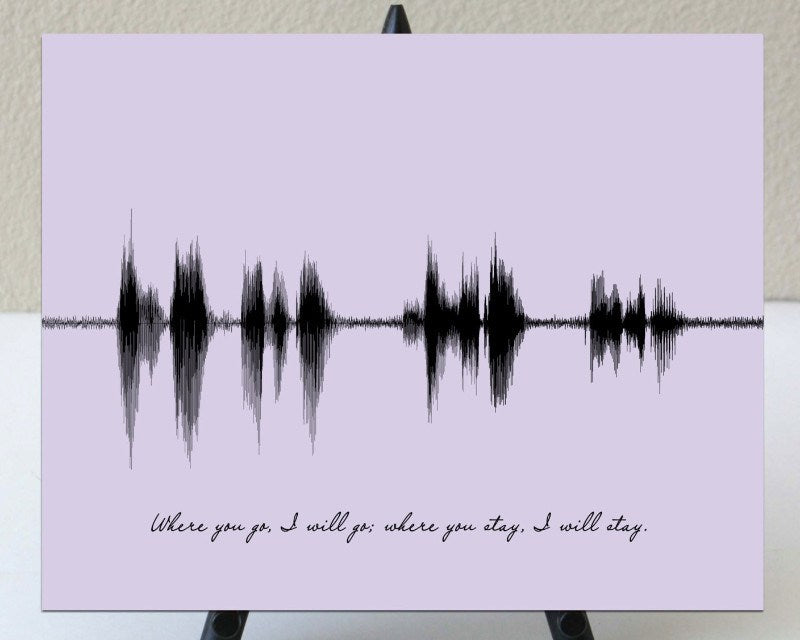 "Bible Verse, Wedding Scripture Couples Gift - ""Where You Go I will Go"" - Artsy Voiceprint"