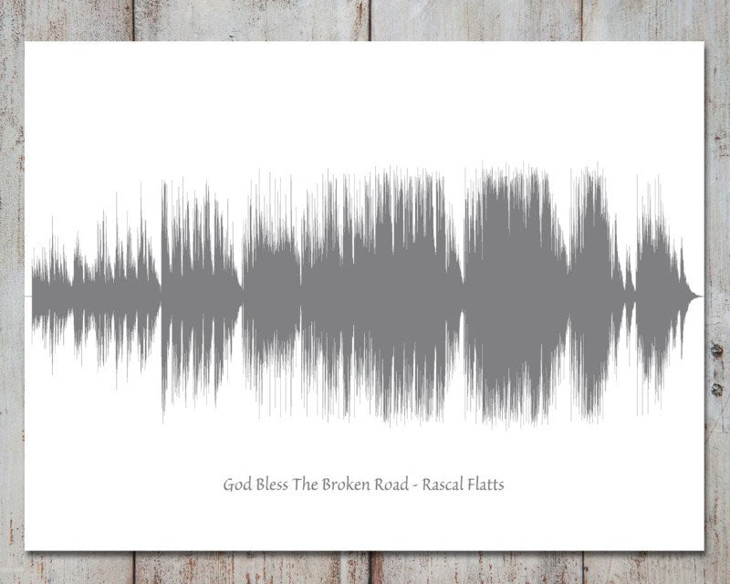 Any Song Wedding Art Soundwave, First Dance, Gift for Couple, Ex: God Bless the Broken Road - Artsy Voiceprint