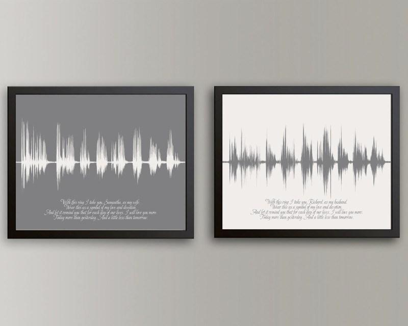 His & Hers Wedding Vow Art, First Anniversary Gift - Artsy Voiceprint