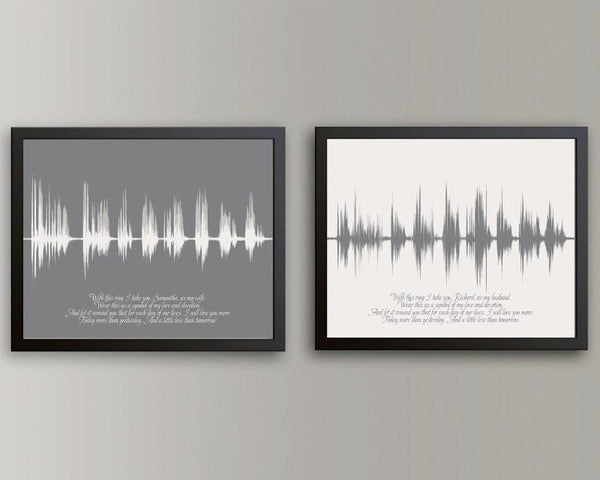 Tin Wedding Anniversary Gift: Wedding Vow Sound Wave Art Keepsake 1st Paper Anniversary