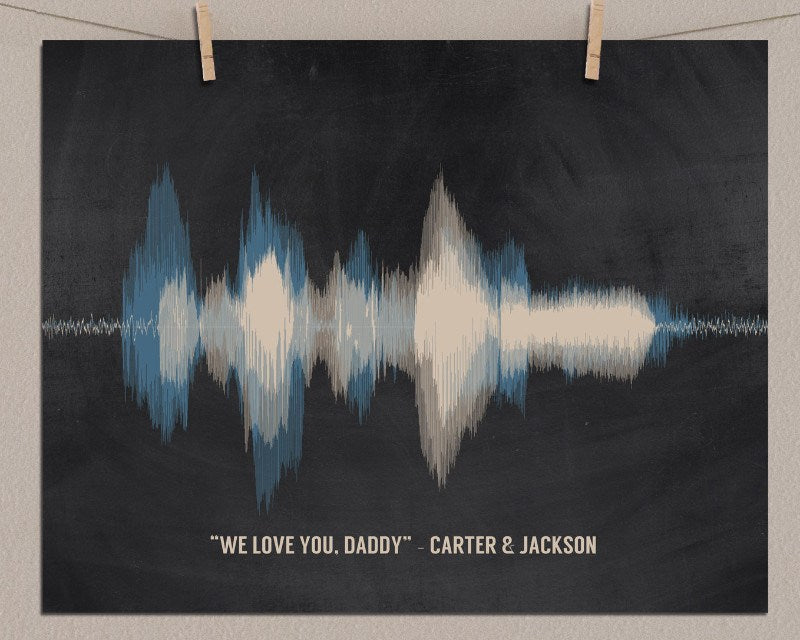 "Custom Gift for Dad - ""I Love You"" Voiceprint From Daughter, Son - Fathers Day Print - Artsy Voiceprint"