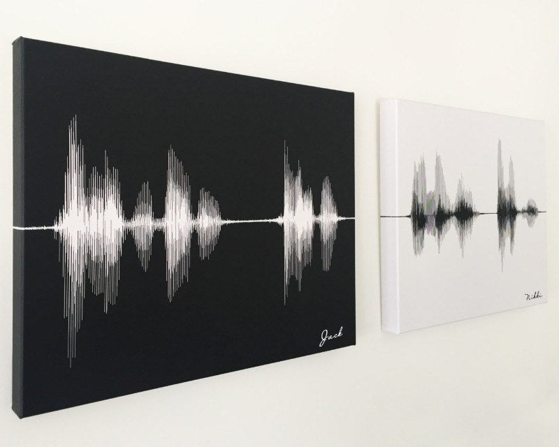 Cotton Anniversary Gift - His & Hers I love you, Wedding Vows - Sound Wave Canvas Art - Artsy Voiceprint